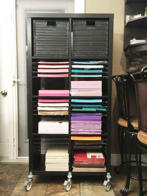 You can store paper in your IKEA Kallax shelves and make it the best IKEA craft room storage