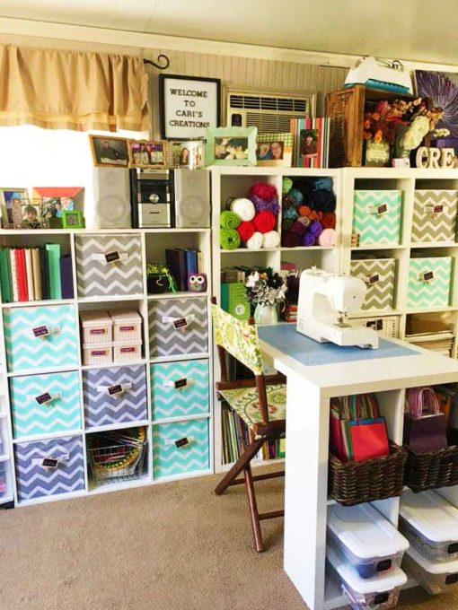 Kallax shelves make the best IKEA Craft Room Storage