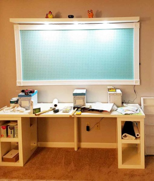 Linnmon tabletops and Lack shelves make the best IKEA Craft Room Storage