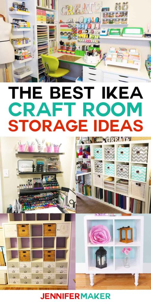 The Best IKEA Craft Room Storage Ideas and Shelves | Kallax, Expedit, Linnmon, Alex, and more! #ikea #craftroom #storage