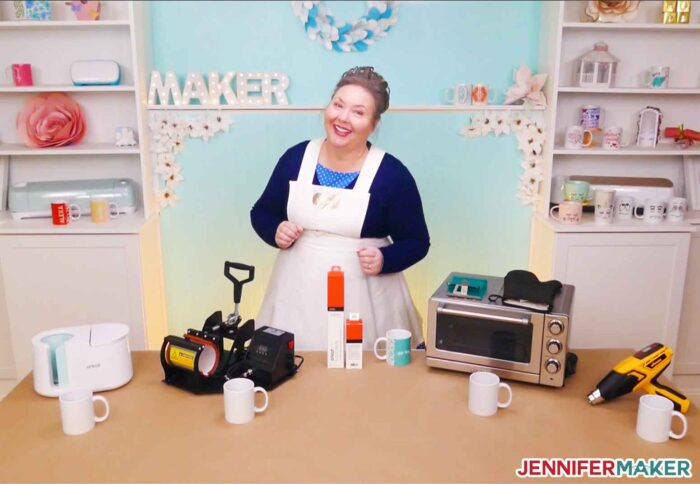 Jennifer Maker with the Cricut Mug Press, a traditional mug press, a silicone wrap, and a heat gun to determine the best mug heat press