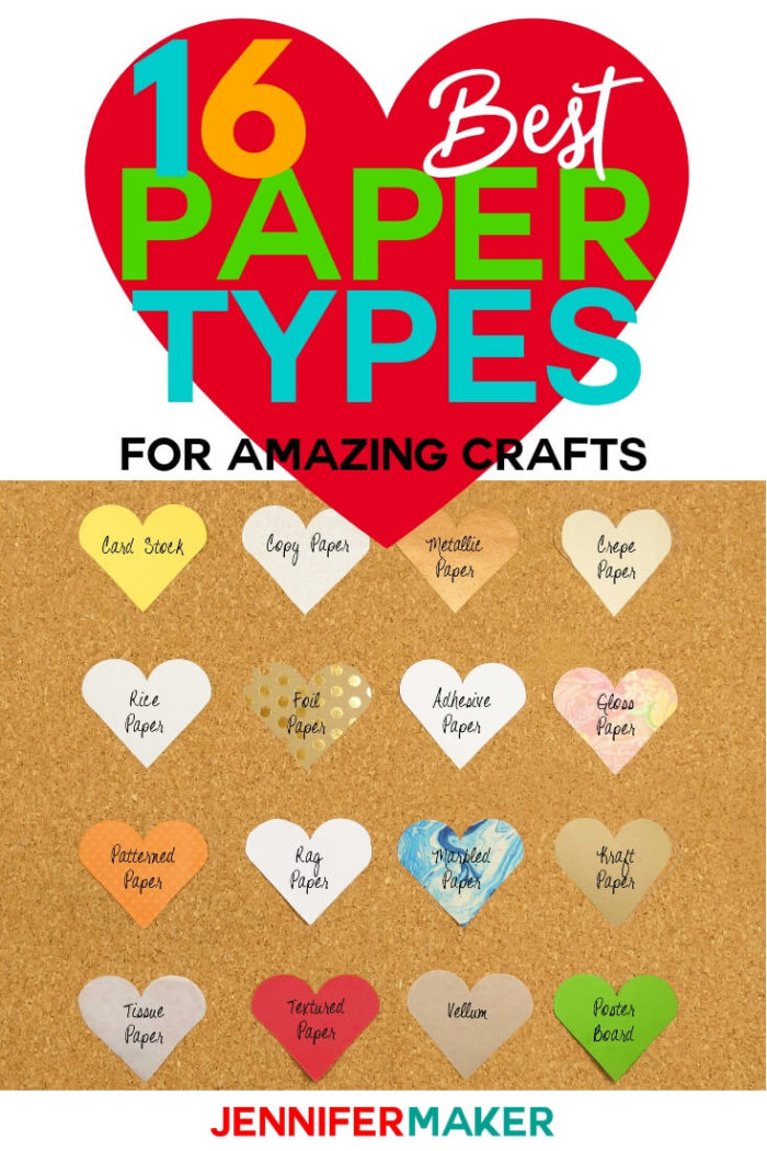 Deciding on paper types can be overwhelming and confusing. This paper chart includes descriptions and detailed photos to help you make the best decision for your paper crafting project. #papercrafts #papercrafting #cricutprojects