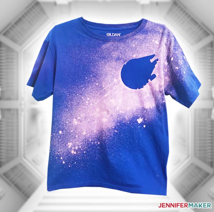 A Star Wars blue shirt with a Millennium Falcon star field design done in the bleach stencil shirt technique