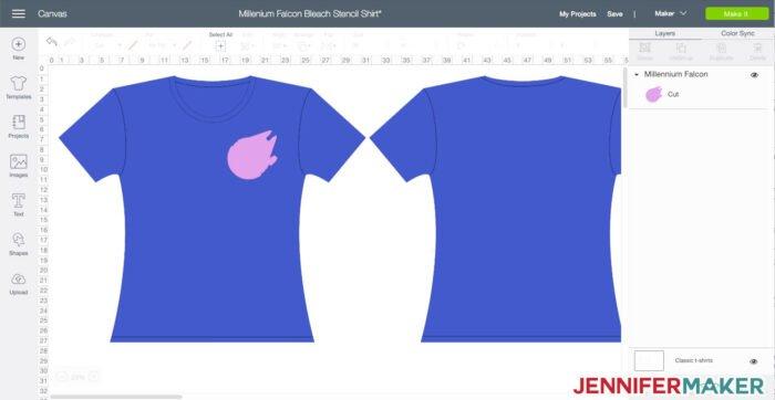 Millennium Falcon design in Cricut Design Space to make a bleach stencil shirt