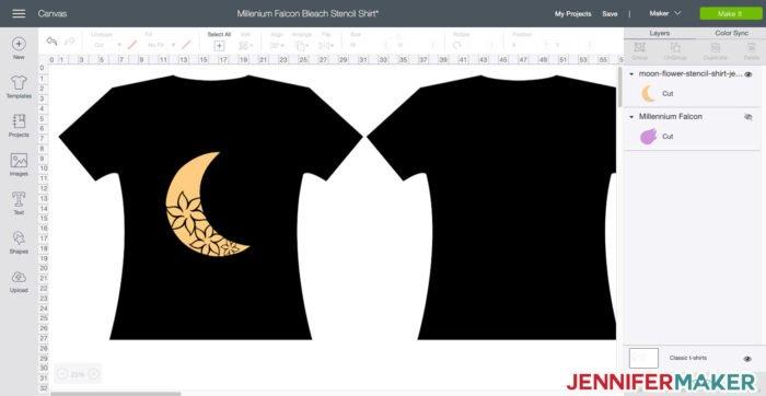Moon Flower svg cut file design in Cricut Design Space to make a bleach stencil shirt