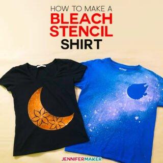 DIY Bleach Stencil Shirt Made on a Cricut with Freezer Paper and Vinyl | Bleached Spray T-Shirt #cricut #tshirt #stencil