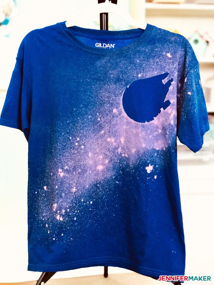 Millennium Falcon bleach stencil shirt in blue