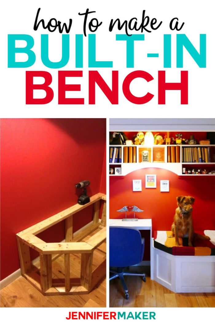 Learn how to make a built-in bench with hidden storage. This project is perfect for transforming a closet into a reading nook! Click to see the the tutorial.  #diy #tutorial #craftroom
