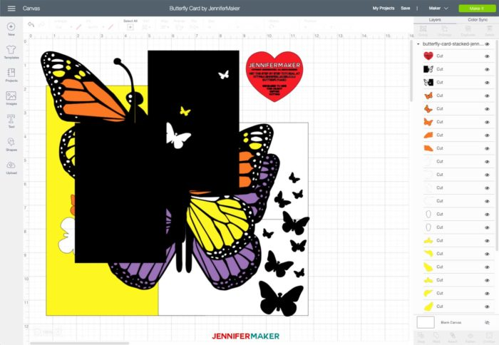 Butterfly Card SVG uploaded to Cricut Design Space - all elements are stacked on top of one another