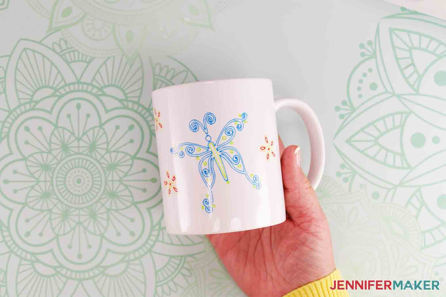 beautiful butterfly mug drawn with infusible ink pens