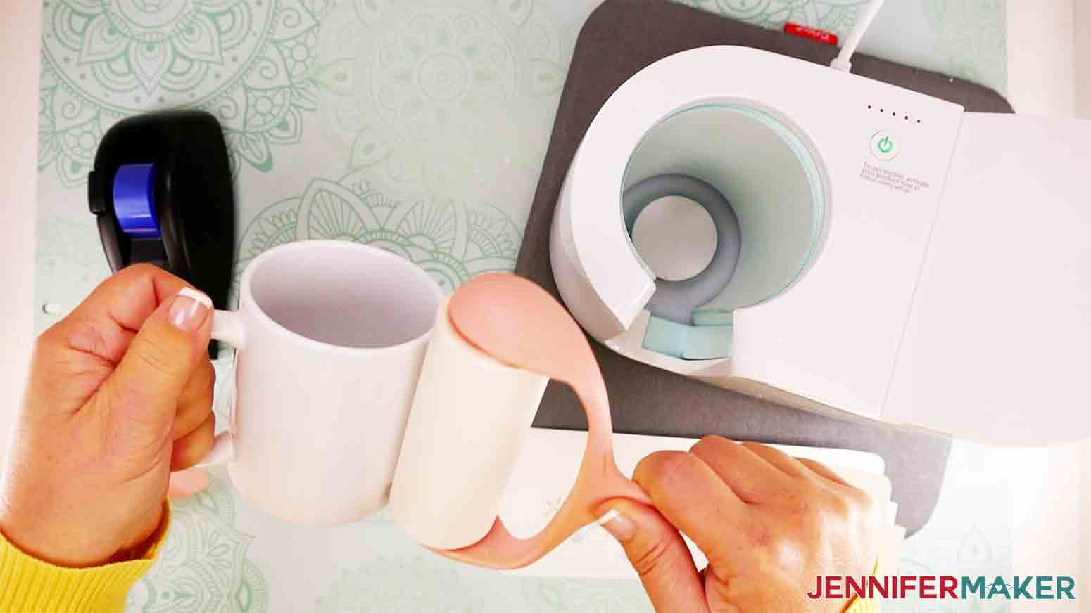 using lint roller to clean surface of mug