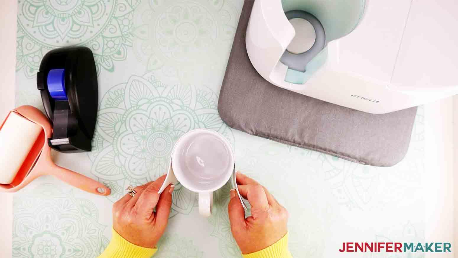 wrap design and extra copy paper around mug