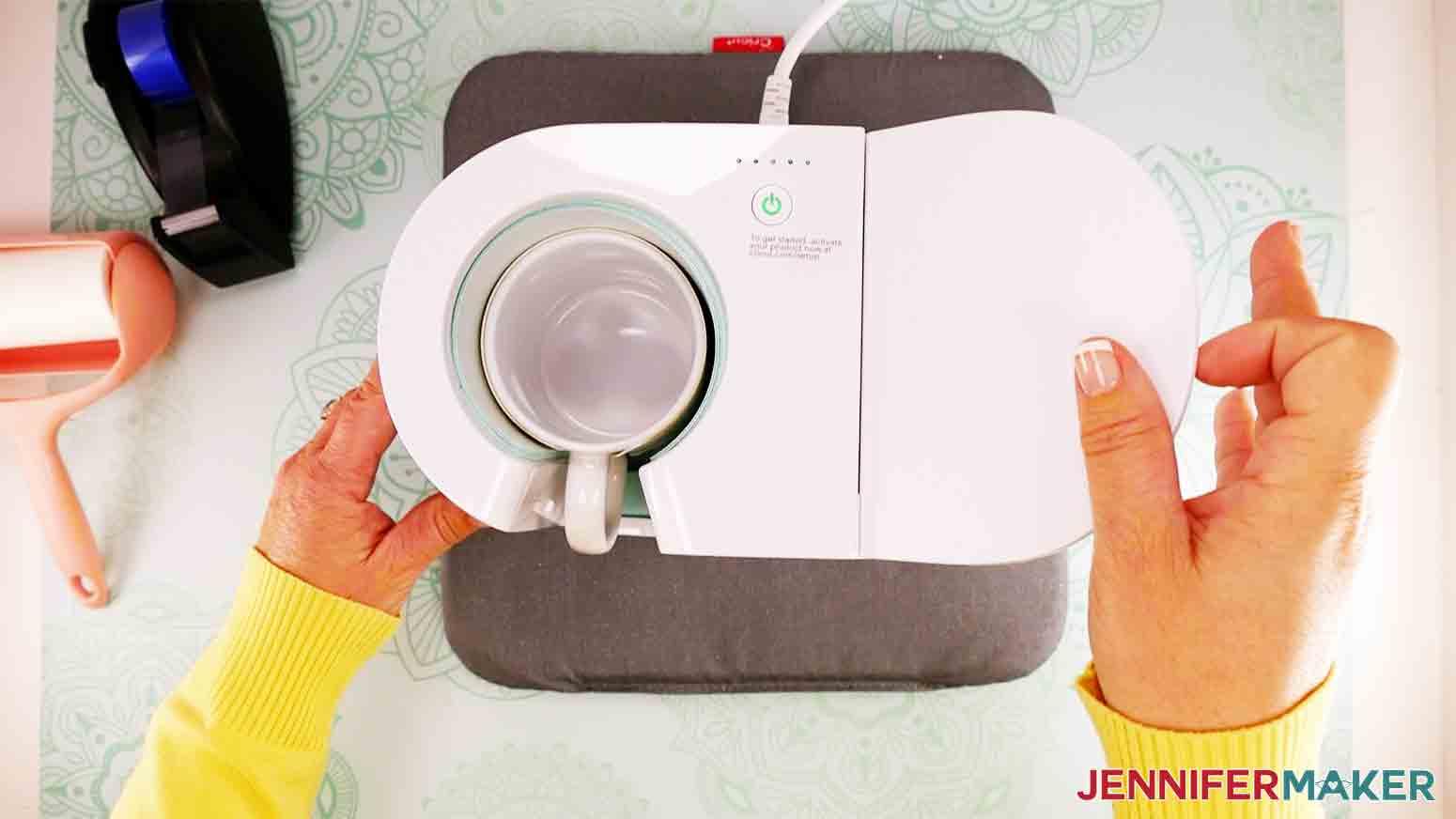 lift lever on cricut heat press to release mug