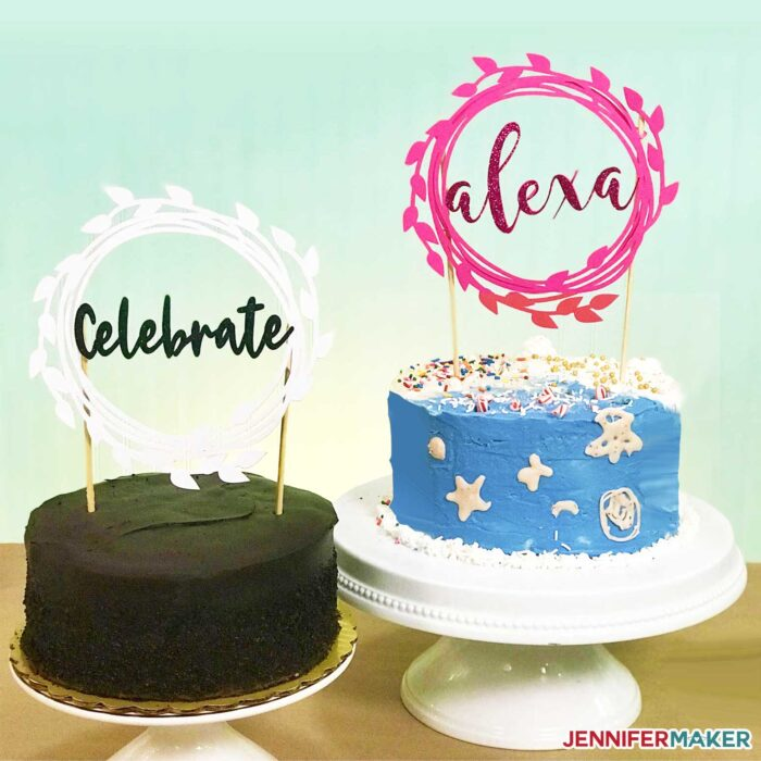 Two cakes with DIY cake toppers