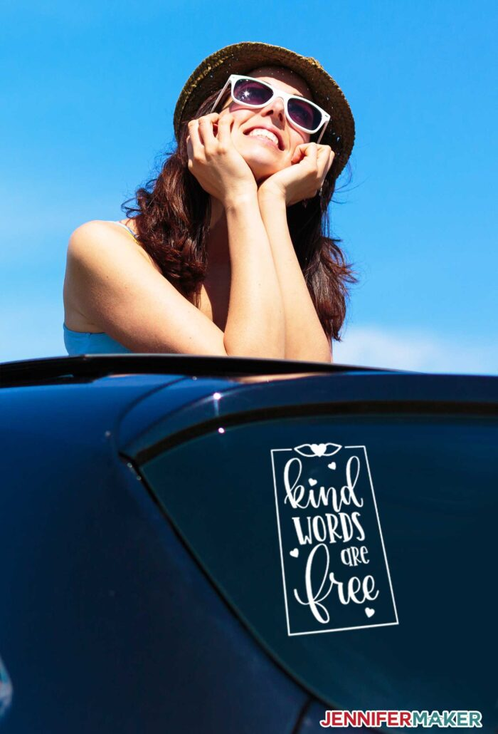 Kind Words are Free Car Vehicle Decal in the Rear Window