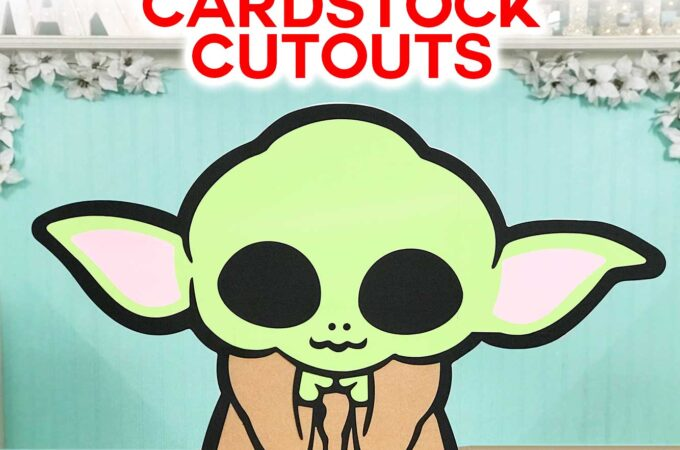 "Make Cardstock Cutouts Larger Than 12"" x 24"" Mat on a Cricut and make Baby Yoda off the mat! #cricut #cricutdesignspace #babyyoda"