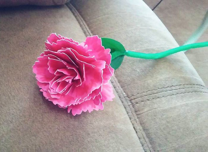 Pink Paper Carnation made by Deb Raines and designed by Jennifer Maker