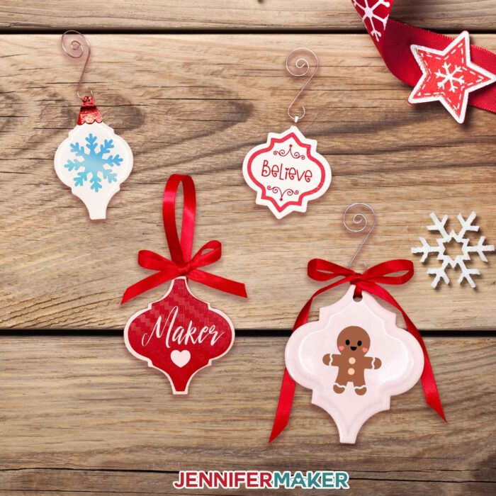 Personalized Ceramic Tile Ornaments with Vinyl Decals