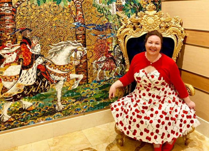 White and red cherry dress on the Disney Dream