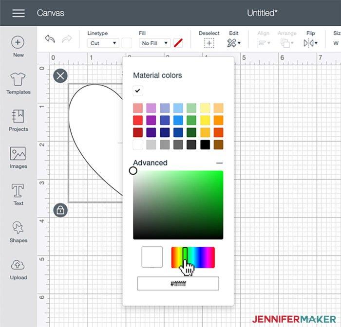 Choosing a color hue in Cricut Design Space