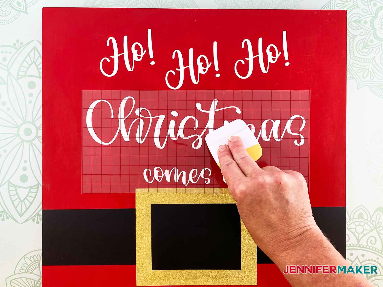Use your scraper tool to apply the lettering to the Christmas Countdown Sign
