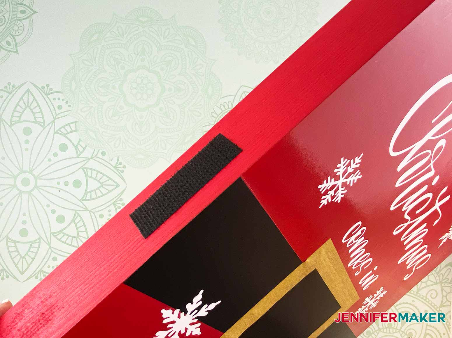 Add the rough side of the velcro and stick to the side of the Christmas Countdown Sign