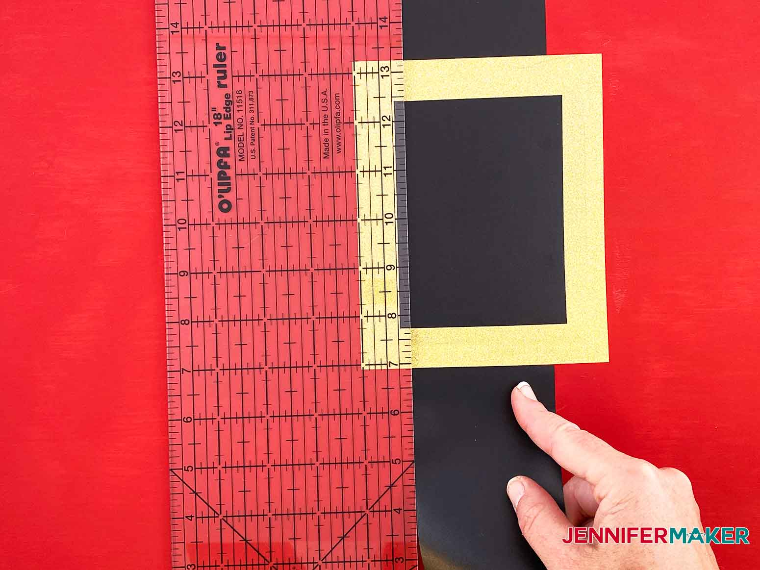 Use a ruler to align the left side of the vinyl belt to the right side for my Christmas Countdown Sign