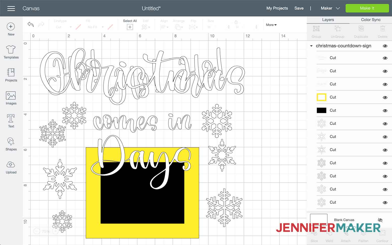 This is what my Christmas Countdown sign looks like in Cricut Design Space