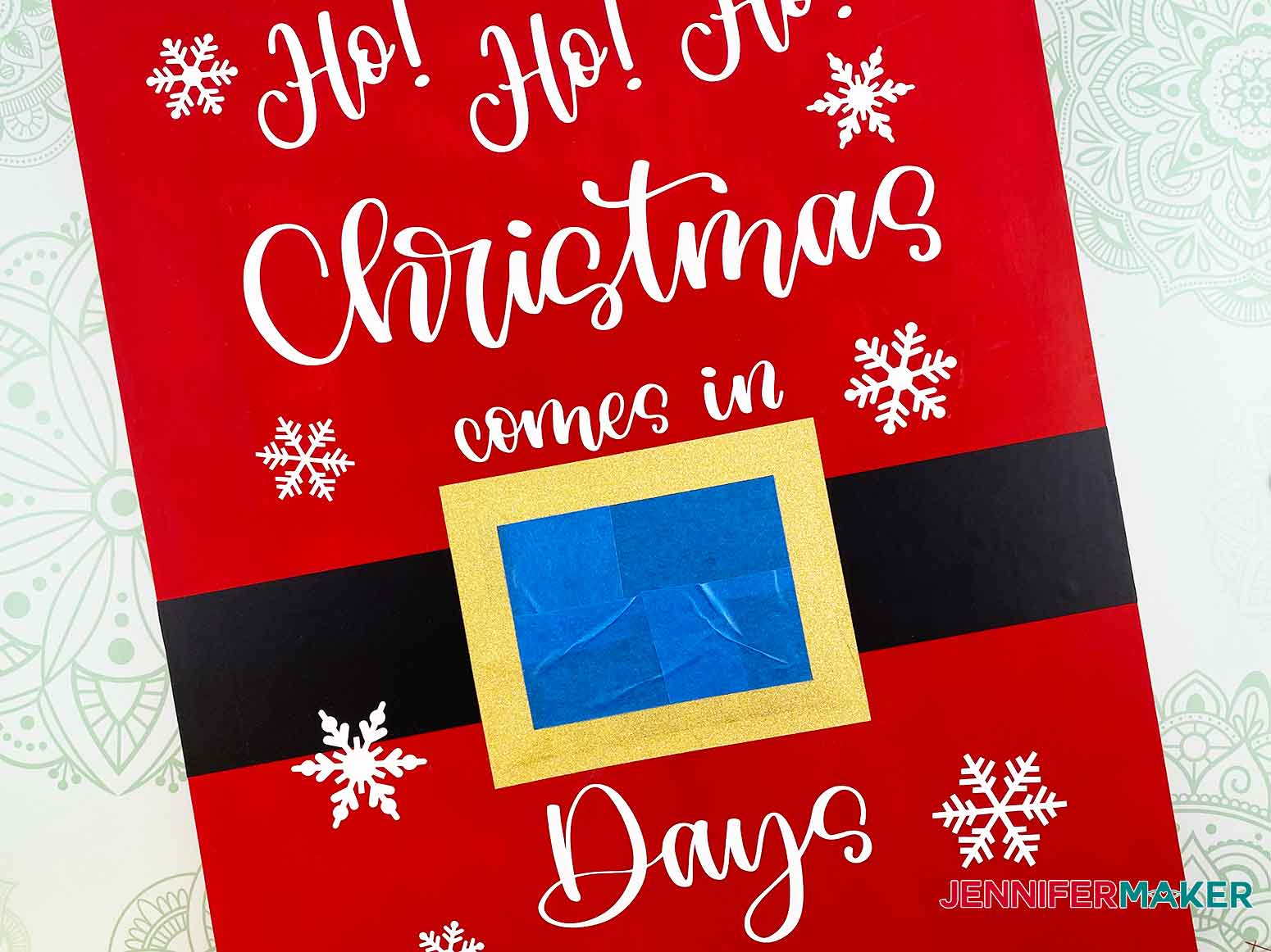Use painter's tape to cover the chalkboard vinyl for the Christmas Countdown Sign
