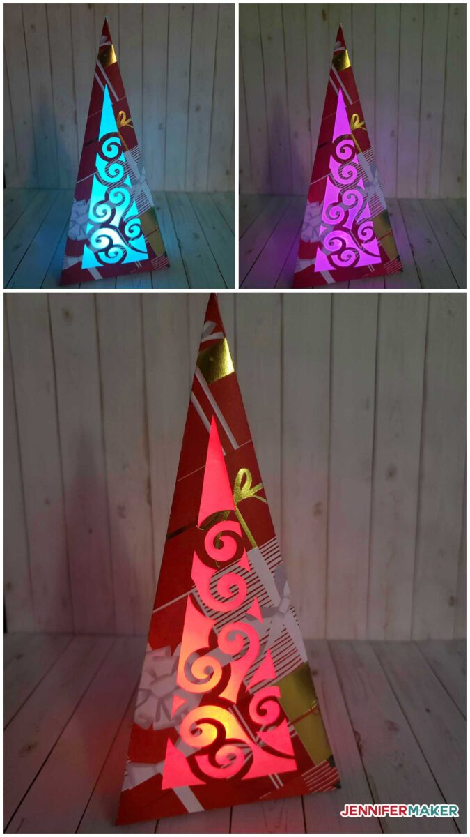 Paper Christmas Tree Luminaries lit up with LED color changing lights