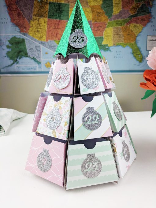 Christmas Tree Advent Calendar made by reader Amy Tengase and designed by Jennifer Maker