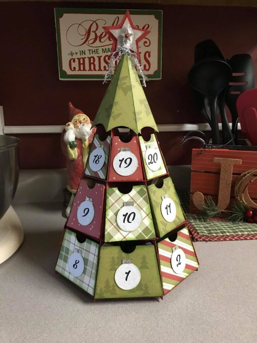 Christmas Tree Advent Calendar made by reader Barb Schafer designed by JenniferMaker