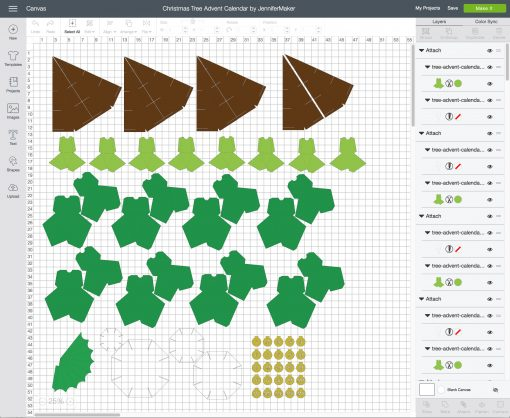 Upload the Christmas Tree Advent Calendar to Cricut Design Space