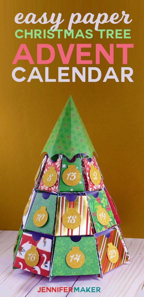 DIY Easy Paper Advent Calendar | Christmas Tree Papercraft | Free Cricut SVG Files | 25 Days of Christmas | #christmascrafts