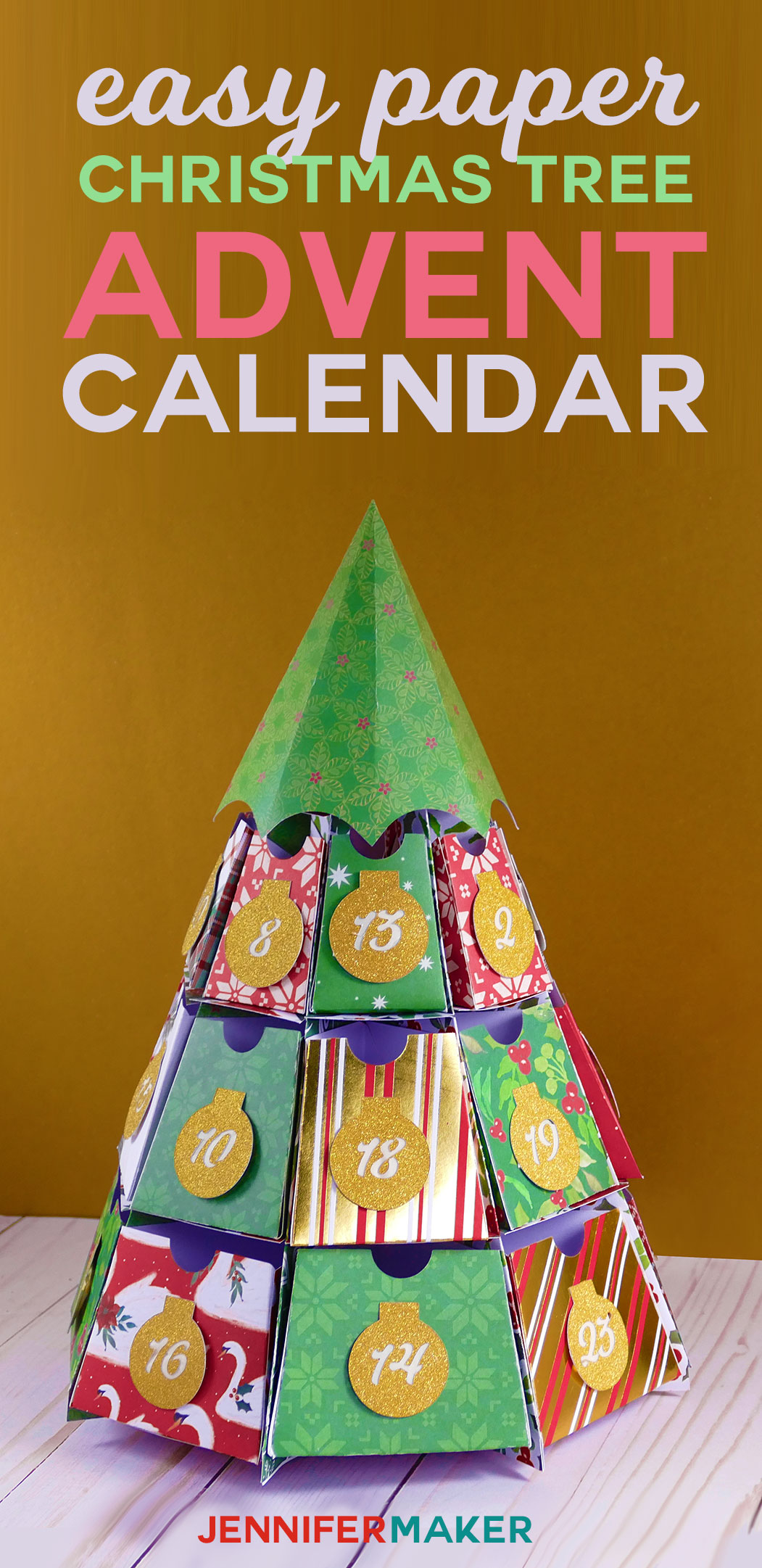 DIY Easy Paper Advent Calendar | Christmas Tree Papercraft | Free Cricut SVG Files | 25 Days of Christmas | #christmascrafts