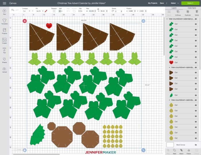 Upload the Christmas Tree Advent Calendar SVG Cut File to Cricut Design Space