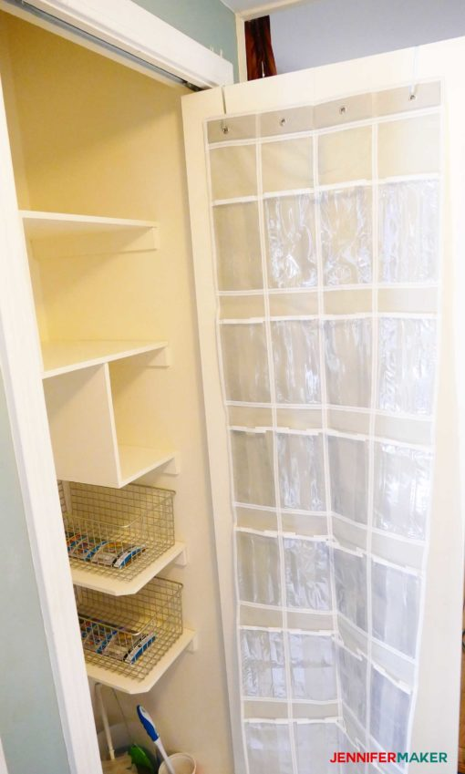 Shoe holder in cleaning closet to organize supplies