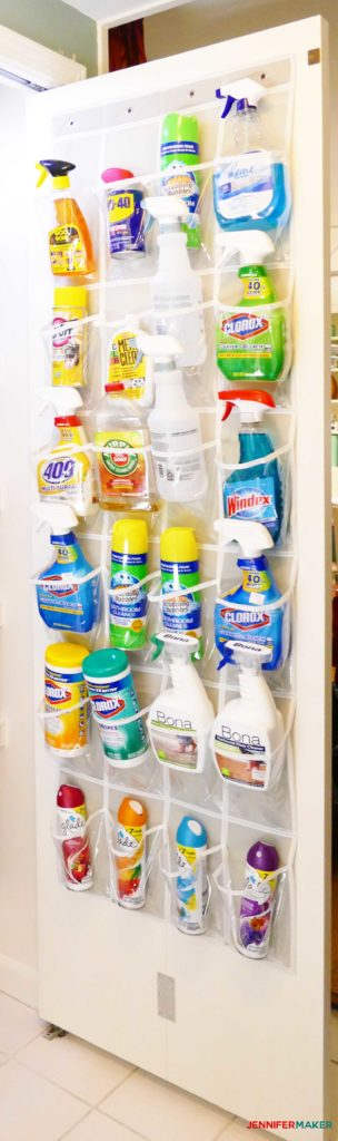 Our cleaning closet door organizer filled with all of our cleaning products -- so amazing!