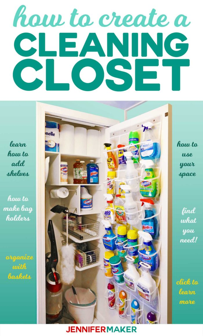How to create an organized cleaning closet with tips for making shelves, bag holders, and door storage! #organization #storage #cleaninghacks
