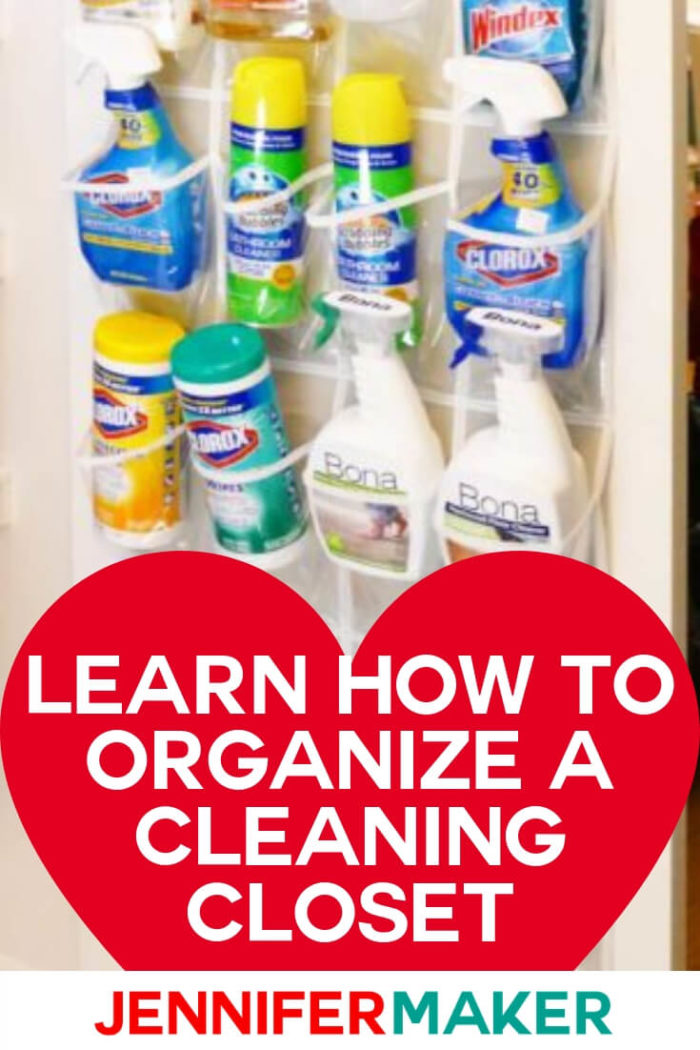 Learn how to organize a cleaning closet because a well-stocked and organized cleaning closet is such a huge help when it comes to keeping your house clean!  #diy #tutorial #cleaning