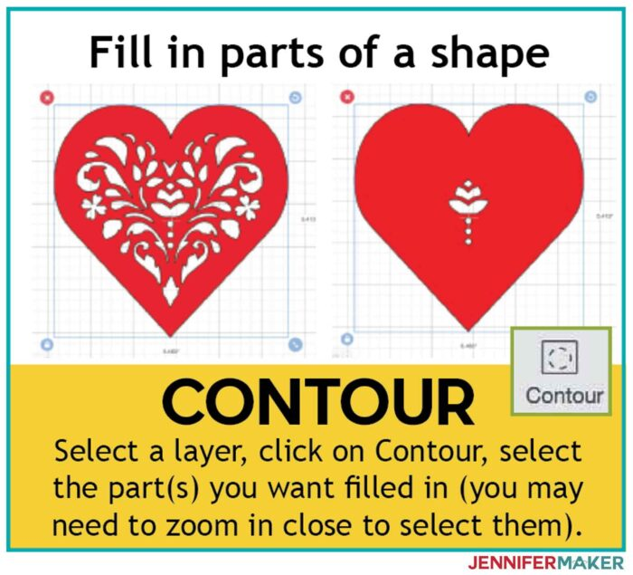 Use Contour to fill in parts of a shape in Cricut Design Space