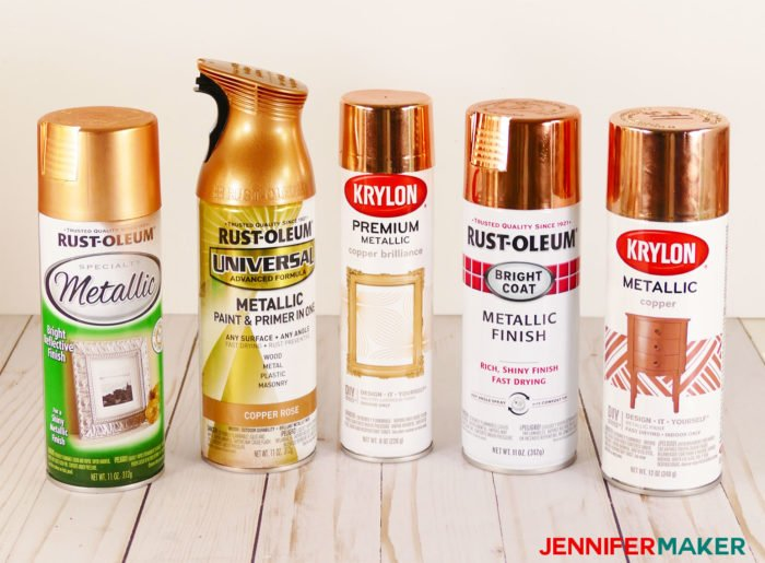 Five different copper spray paints tested for quality and coverage