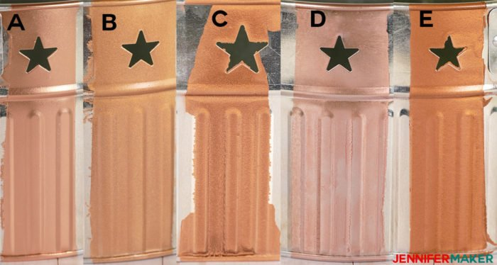Copper spray paint on aluminum metal shows difference in color hue, shine, and coverage