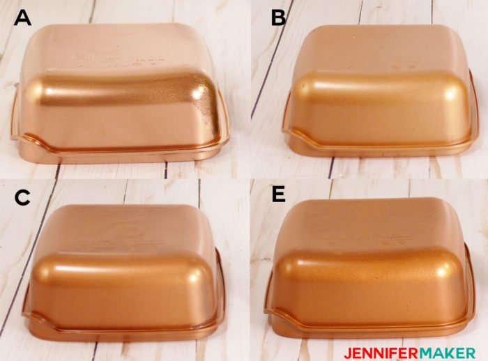 Copper spray paint on plastic containers shows difference in color hue, shine, and coverage