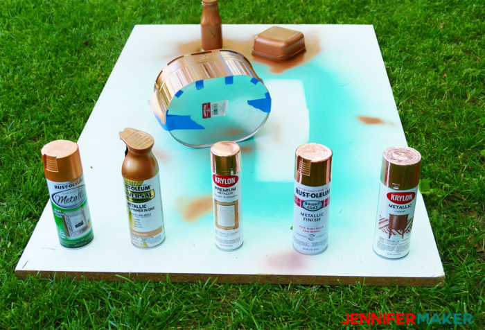 Testing five popular copper spray paints on a variety of surfaces for DIY projects