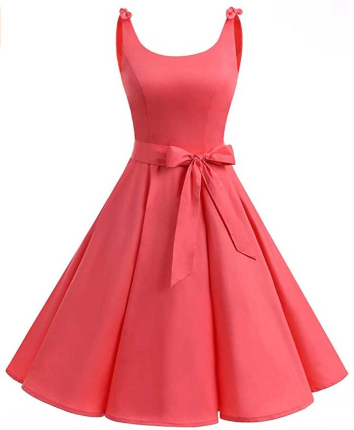 Coral bowknot sleeveless vintage-style dress