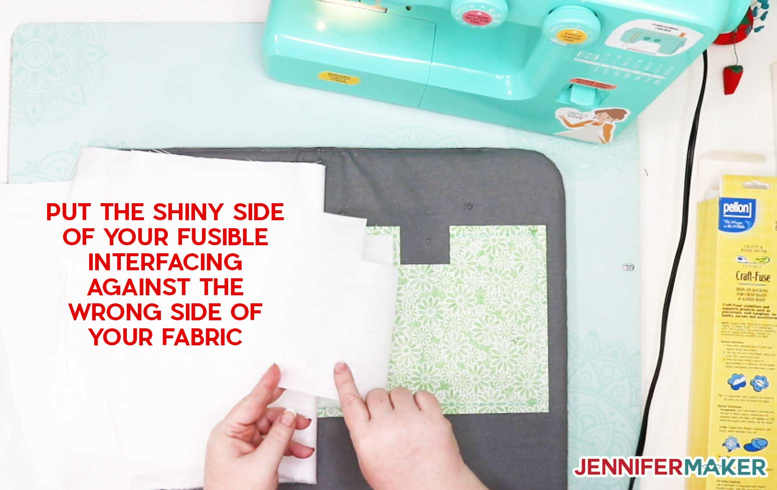 Fusible Interfacing goes shiny side against the wrong side of your fabric to make the Couch Caddy Craft Organizer