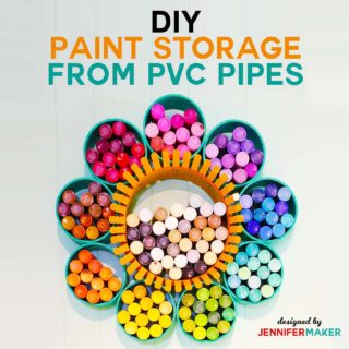 How to Make a Craft Paint Storage Organizer from PVC Pipe and a Duct Collar RIng with this full photo tutorial | #craftroom #storage #organization