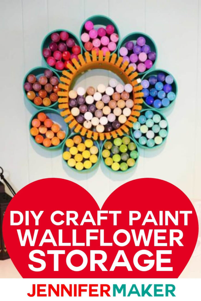 This craft paint storage organizer is designed to look like a flower to store all of your favorite craft paints. I have included a step by step tutorial to create your own wallflower out of PVC. #diy #tutorial #craftprojects #craftroom