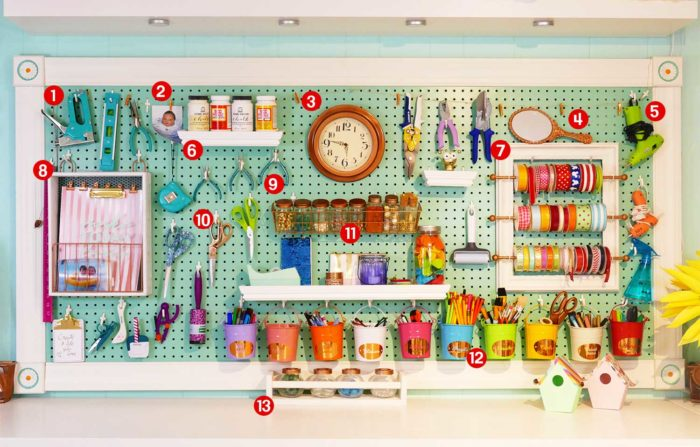 Large craft room pegboard with accessories and storage